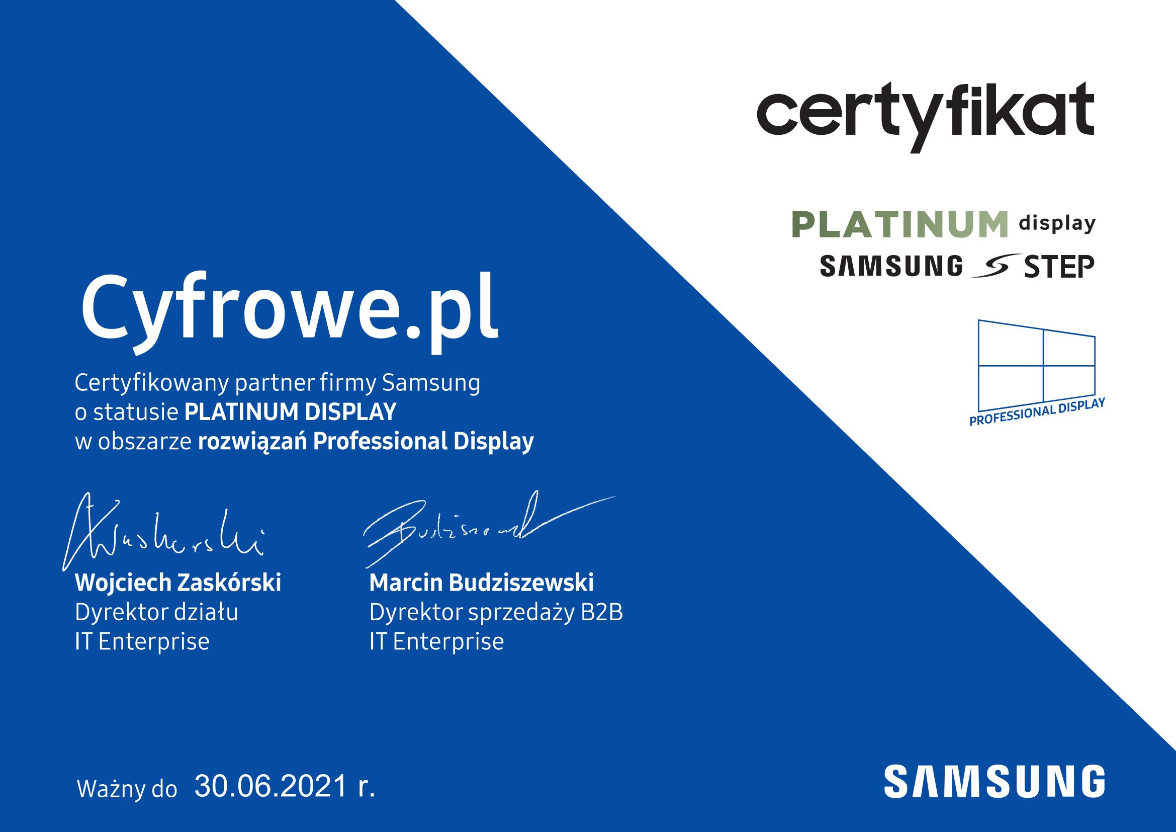 CyfroweAV Certyfikat Samsung